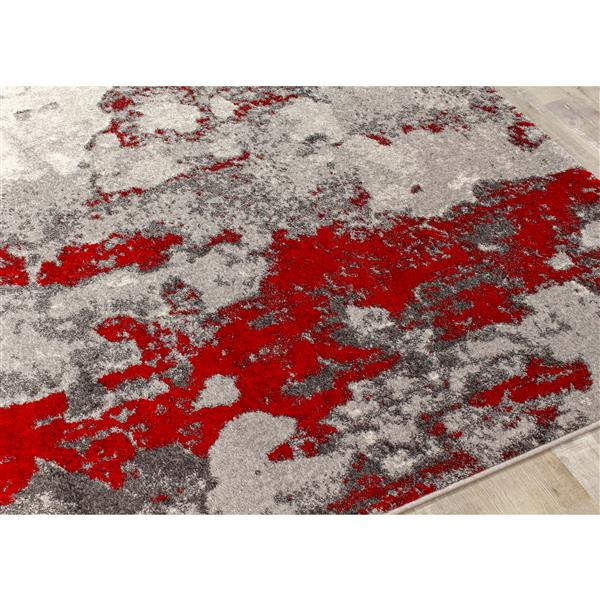 Tapis abstrait Freemont de Kalora, 5' x 8', rouge