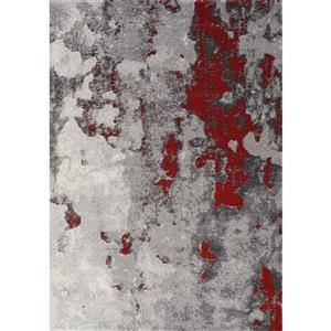 Tapis abstrait Freemont de Kalora, 2' x 4', rouge