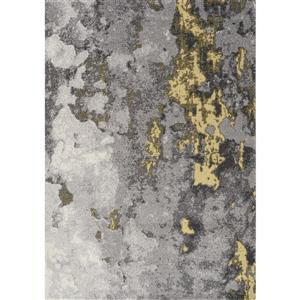 Tapis abstrait Freemont de Kalora, 5' x 8', jaune