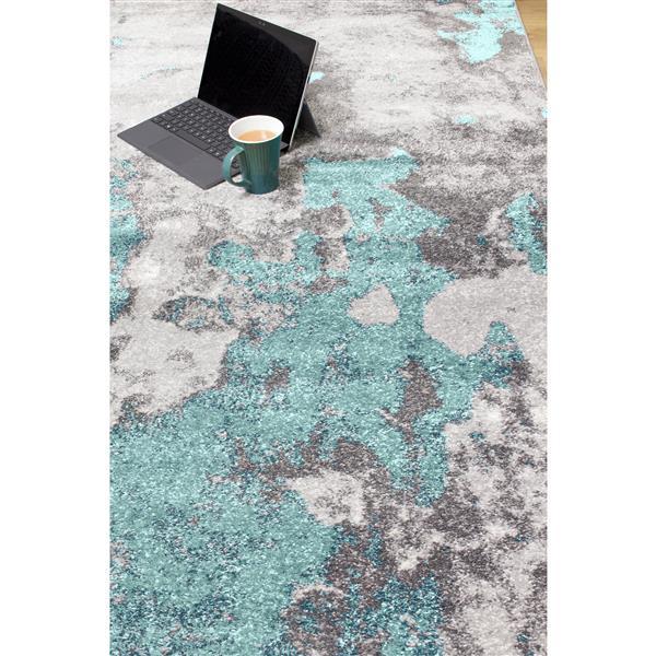Tapis abstrait Freemont de Kalora, 5' x 8', bleu