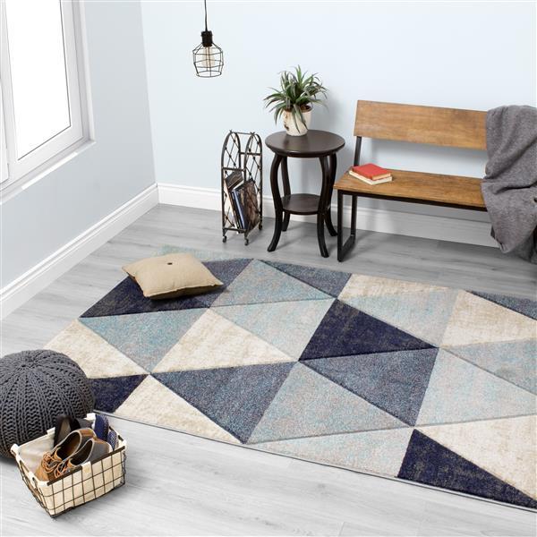 Tapis triangles délavés Freemont de Kalora, 5' x 8', bleu