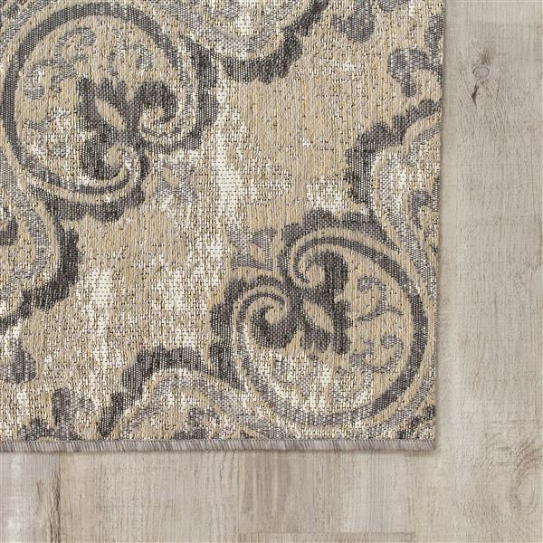 Tapis jacquard Domain de Kalora, 5' x 8', gris