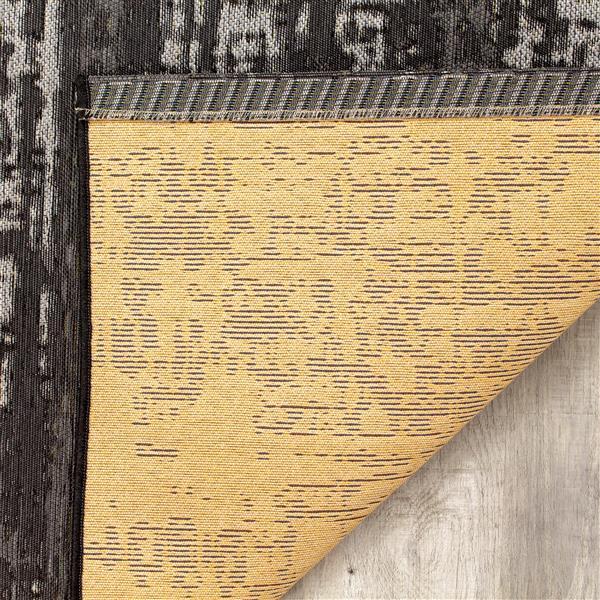 Tapis extérieur délavé Domain de Kalora, 5' x 8', noir