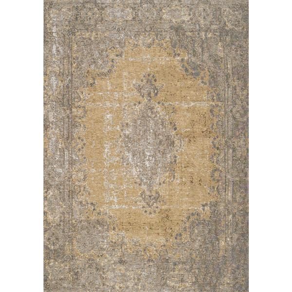 Tapis traditionnnel Cathedral de Kalora, 8' x 11', jaune