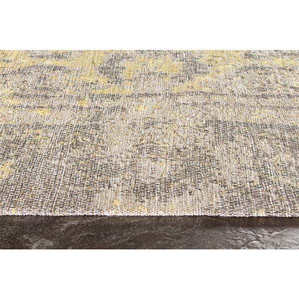 Tapis traditionnnel Cathedral de Kalora, 5' x 8', jaune