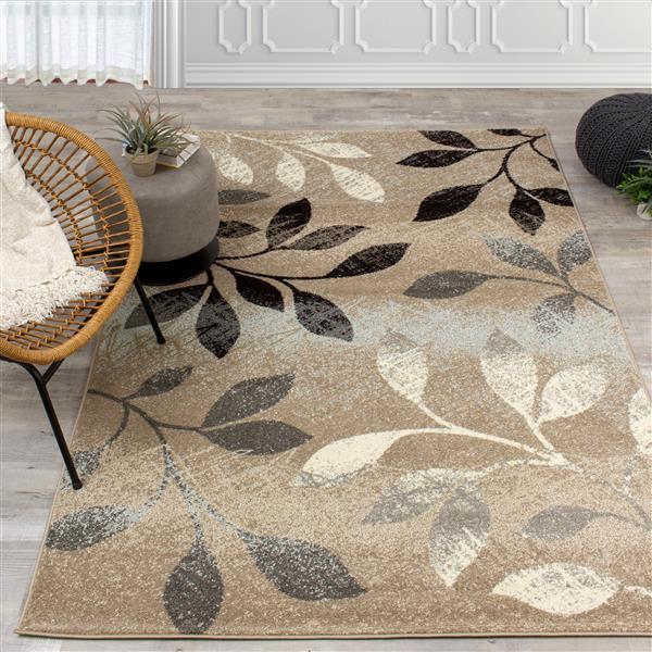 Tapis à motif de feuilles Casa de Kalora, 7' x 10', brun