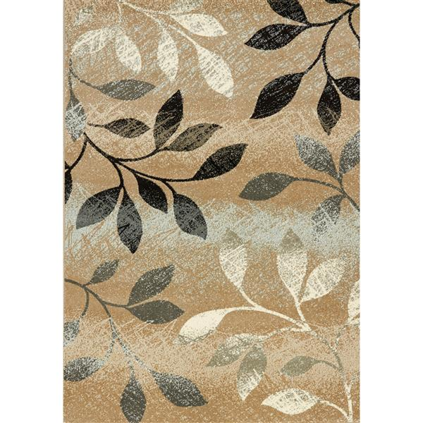 Kalora Casa Distressed Leaves Rug - 5' x 8' - Brown