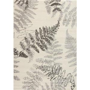 Tapis à motif de feuilles Camino de Kalora, 8' x 11', crème