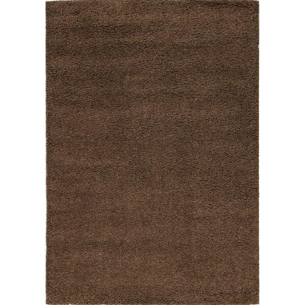 Tapis Shaggy de Kalora, 8' x 11', brun