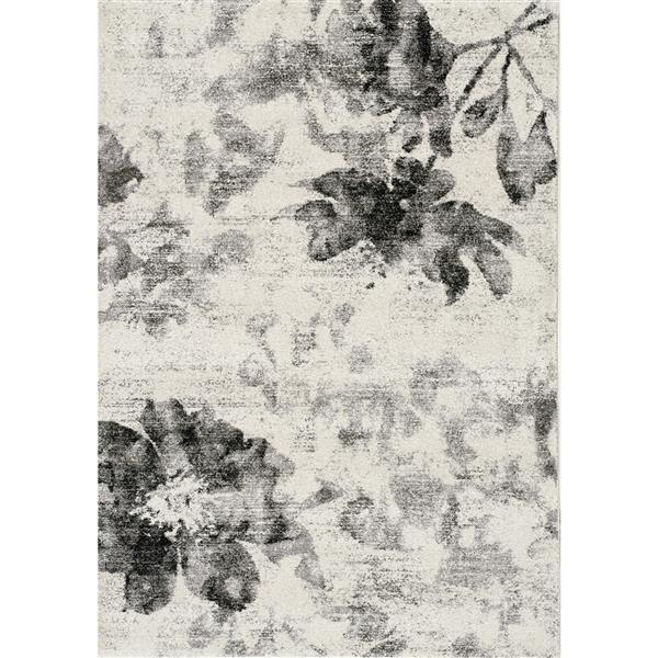 Tapis fleurs flottant Breeze de Kalora, 5' x 8', crème