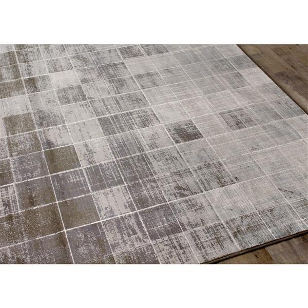 Tapis carrés délavé Antika de Kalora, 7' x 10', gris