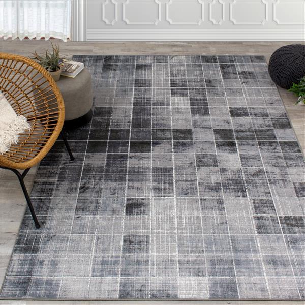 Tapis carrés délavé Antika de Kalora, 5' x 8', gris