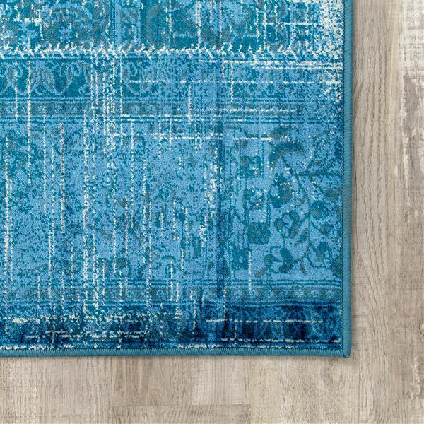 Tapis brillant Antika de Kalora, 5' x 8', sarcelle