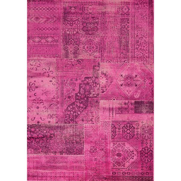 Tapis brillant Antika de Kalora, 7' x 10', rose