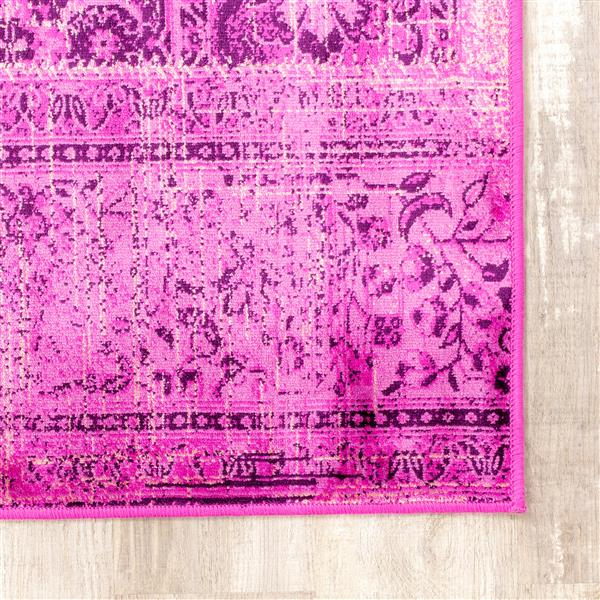 Tapis brillant Antika de Kalora, 5' x 8', rose