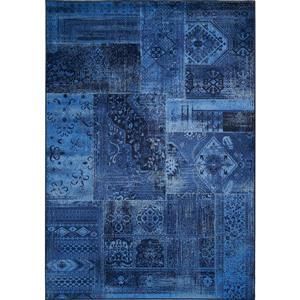 Tapis brillant Antika de Kalora, 5' x 8', bleu marin