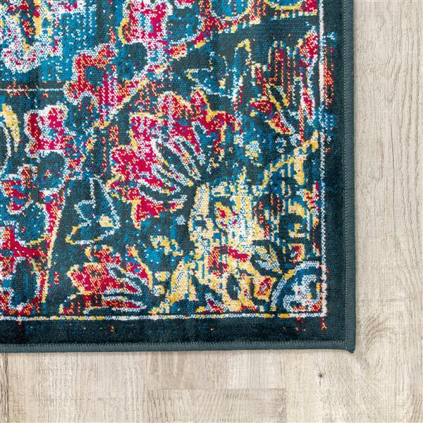 Tapis rétro Antika de Kalora, 5' x 8', bleu