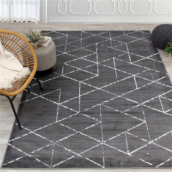 Tapis triangles Antika de Kalora, 5' x 8', noir