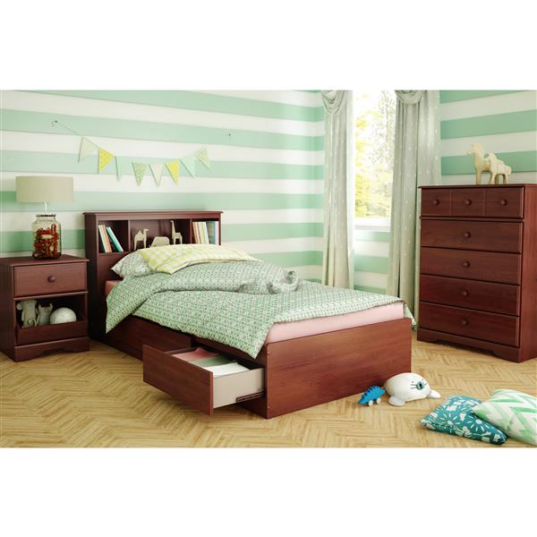 South Shore Furniture 3 Drawer Royal Cherry 40.50-in x 76.50-in Little Treasures Mates Bed