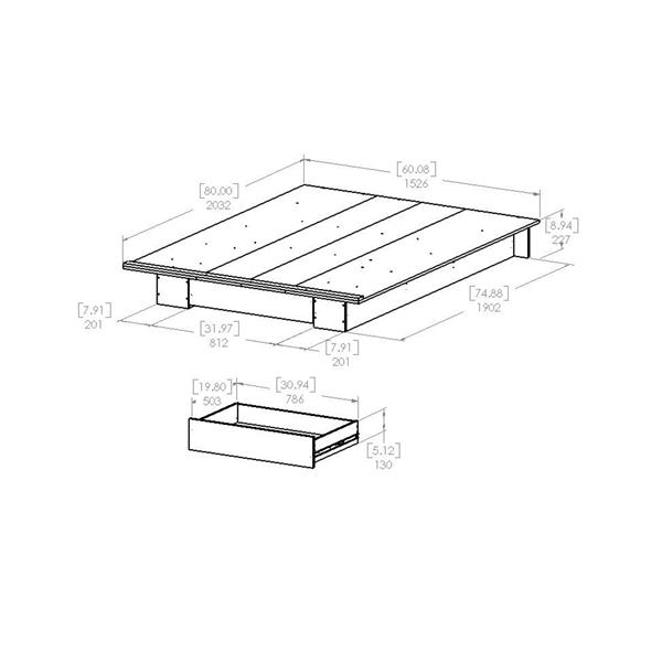 Lit plateforme avec tiroir Primo, noir, grand lit