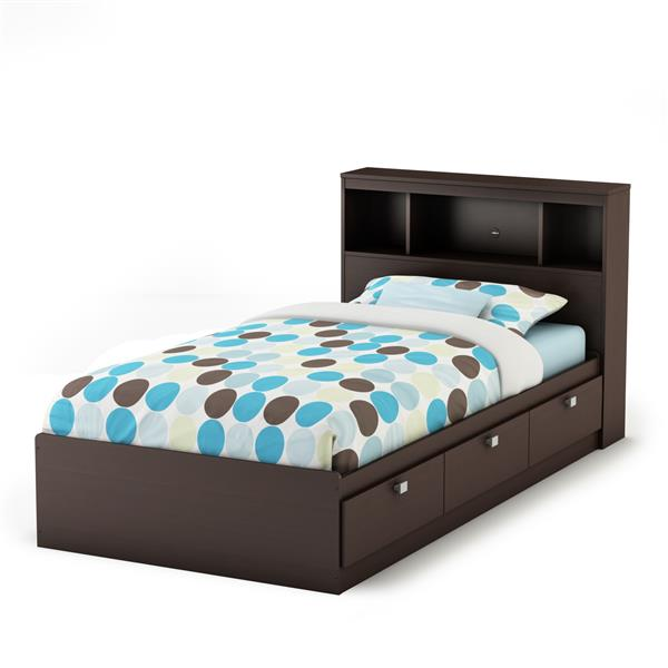 South Shore Furniture  Chocolate Spark Storage Bed and Bookcase Headboard