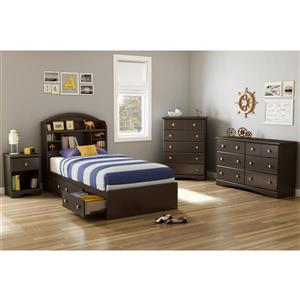 South Shore Furniture 3 Drawer Chocolate 40.50-in x 76.50-in Morning Dew Mates Bed