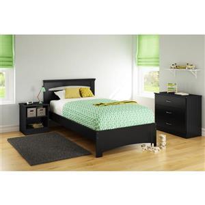Base et tête de lit Libra, noir, simple