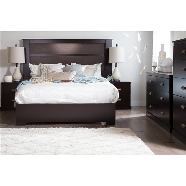 Tête et base de lit plateforme Gloria, chocolat, grand lit