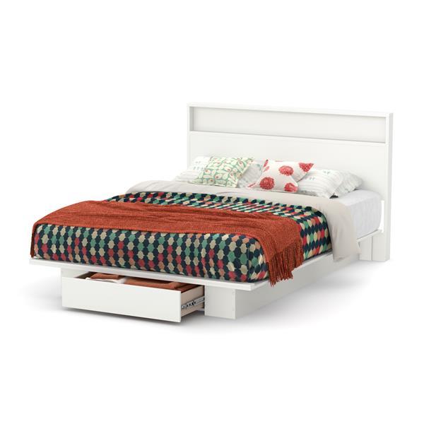 Lit plateforme avec tiroir Holland, blanc, grand lit