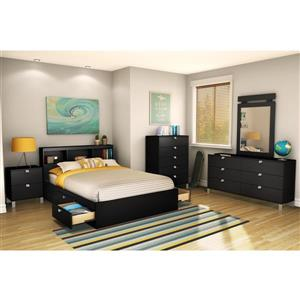South Shore Furniture 4 Drawer Pure Black Spark Mates Bed