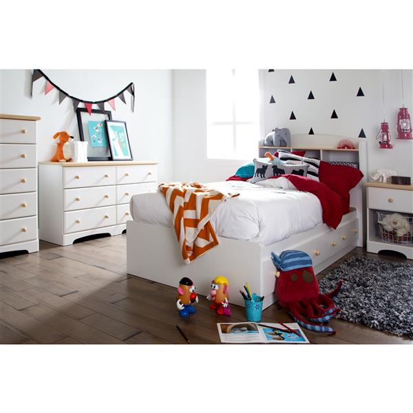 South Shore Furniture 3 Drawer Pure White Summer Breeze Mates Twin Bed