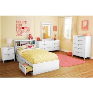 South Shore Furniture 3 Drawer Pure White Spark Mates Bed