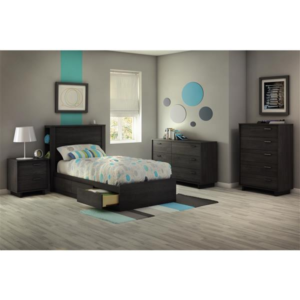 South Shore Furniture Fynn Gray 40.50-in x 76.50-in 3 Droor Mates Bed