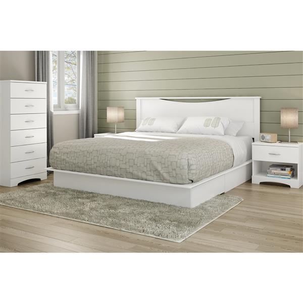 Lit plateforme avec tiroirs Step One, blanc, très grand lit