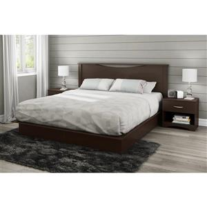 South Shore Furniture 2 Drawer Chocolate Step One Platform King Bed