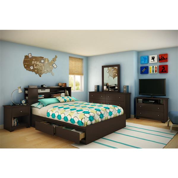 Lit matelot avec 2 tiroirs Vito, chocolat, grand lit