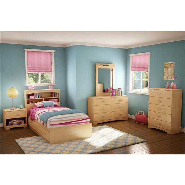 South Shore Furniture 3 Drawer Natural Maple 40.50-in x 76.50-in Popular Mates Bed