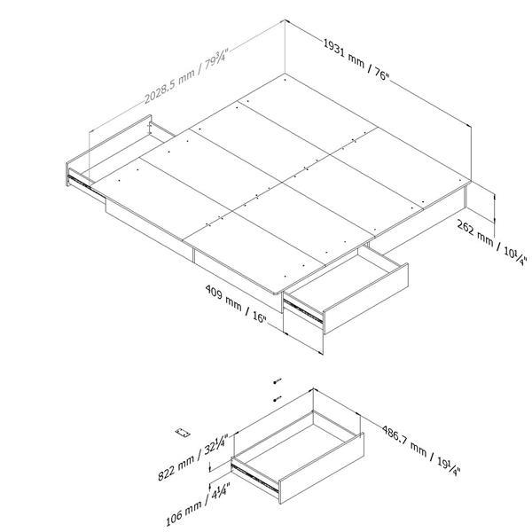 South Shore Furniture 2 Drawer Step One Platforme Bed - Black - King