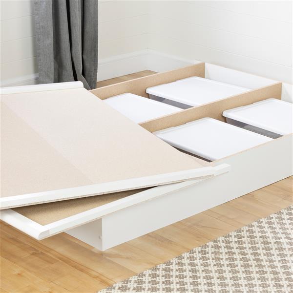 Lit plateforme Step One, blanc, double