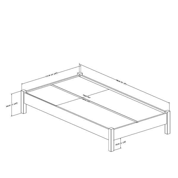 Lit plateforme Step One, blanc, simple
