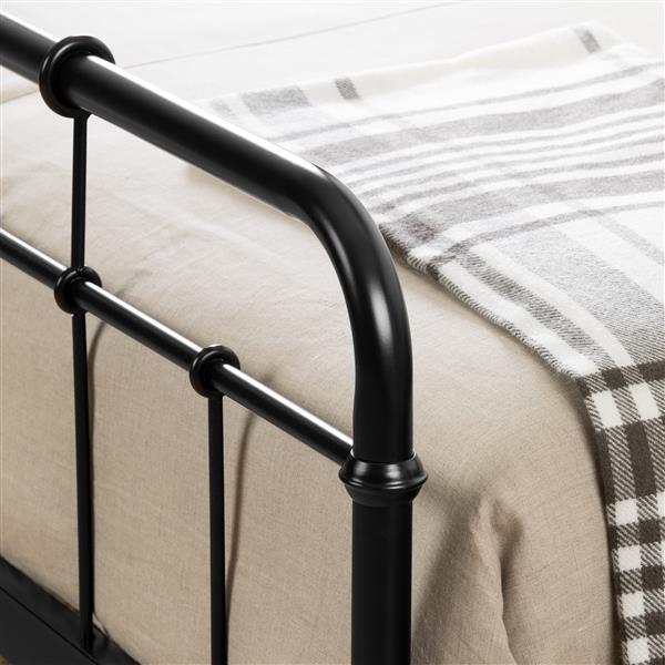 Lit plateforme en métal Versa, noir, grand lit