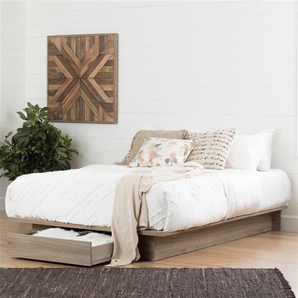 Lit plateforme avec tiroir Primo, chêne rustique, grand lit