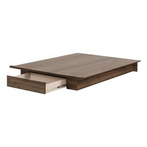 Holland Platform Bed with Drawer - Natural Walnut