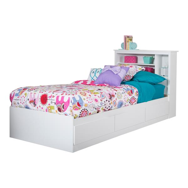 South Shore Furniture Vito White 40.50-in X 76.50-in 3 Drawer Platform Bed
