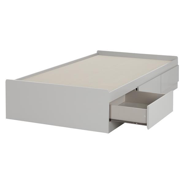 Lit matelot avec 3 tiroirs Reevo, gris clair, simple