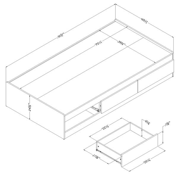 South Shore Furniture 3 Drawer Grey Oak Step One Mates Bed