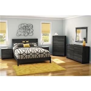 South Shore Furniture Tao Platform Bed on Legs - Gray Oak - Queen