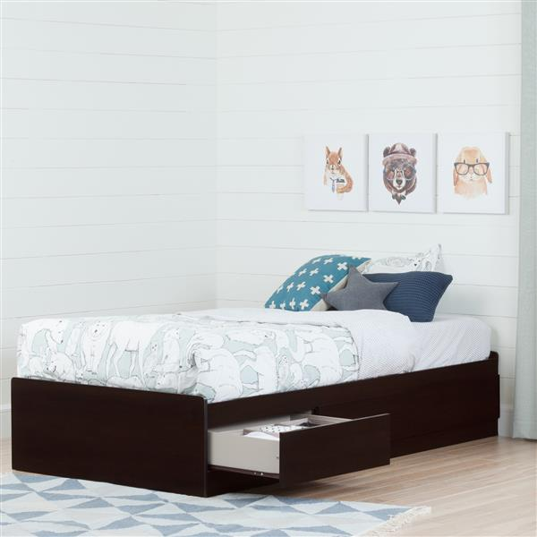South Shore Furniture 3 Drawer Step One Mates Bed - Chocolate - Twin