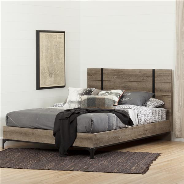 Lit plateforme avec tête de lit Valet, chêne vieilli