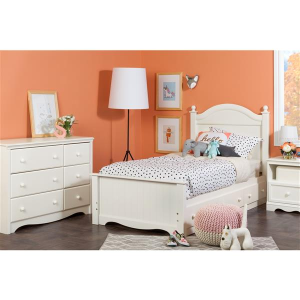 Savannah Panel Bed with 3 Drawers - Pure White - Twin